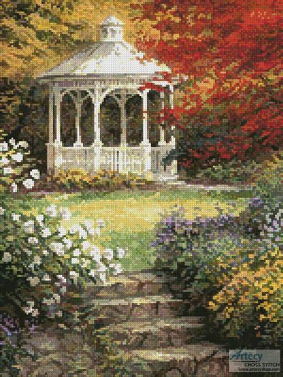cross stitch pattern Garden Steps (Crop)