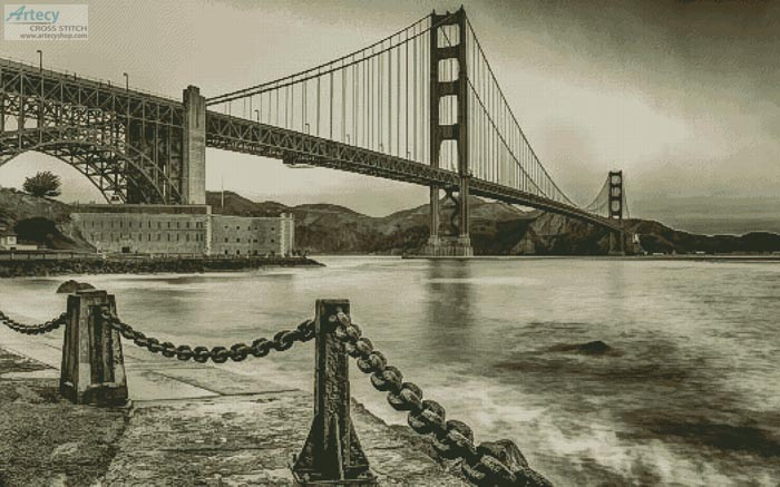 cross stitch pattern Golden Gate - Sepia (Large)