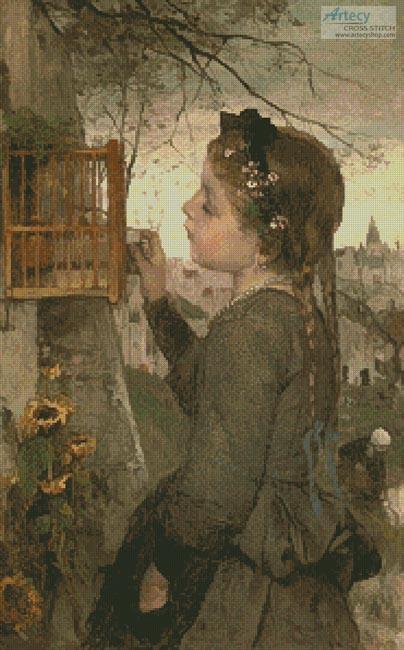 cross stitch pattern Girl Feeding a Bird in a Cage