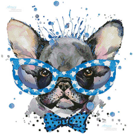 cross stitch pattern Groovy Pup 2