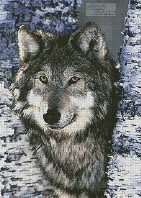 cross stitch pattern Grey Wolf