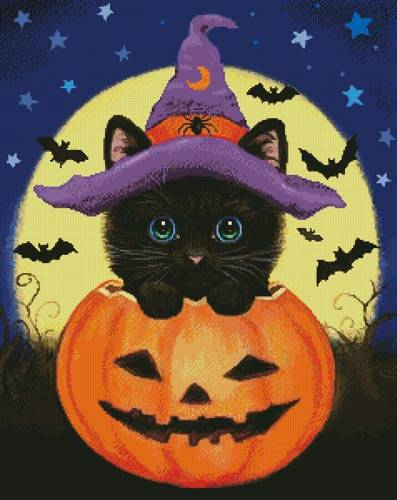 cross stitch pattern Halloween Kitty