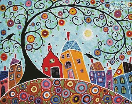 cross stitch pattern Houses, Barn, Birds and Swirl Tree
