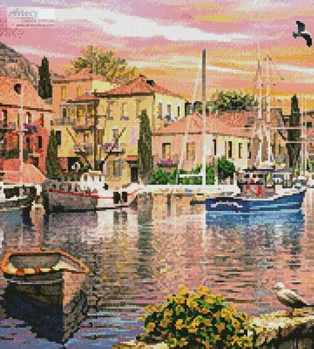 cross stitch pattern Harbour Sunset (Crop 2)