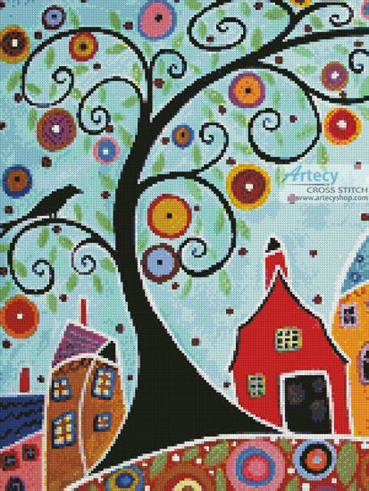 cross stitch pattern Houses, Barn, Birds and Swirl Tree(Crop)