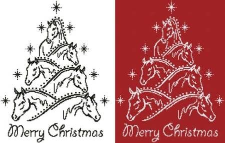 Horse Christmas Tree Cross Stitch Pattern Tree