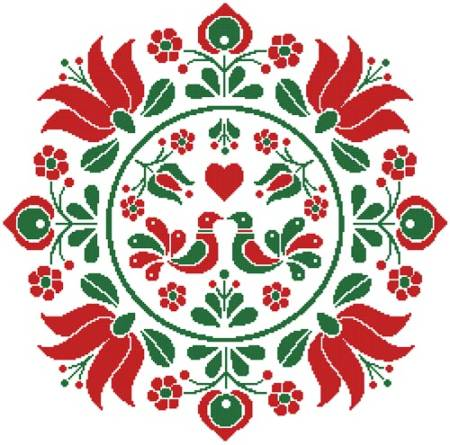 cross stitch pattern Hungarian Folk Art Design