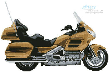 cross stitch pattern Honda Goldwing Tan Motorcycle