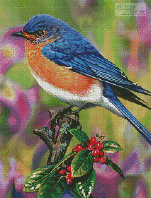 cross stitch pattern Hollyberry Bluebird