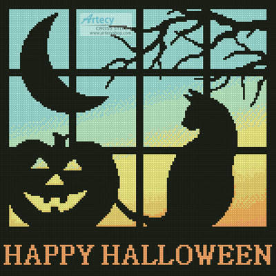 cross stitch pattern Halloween Square 2
