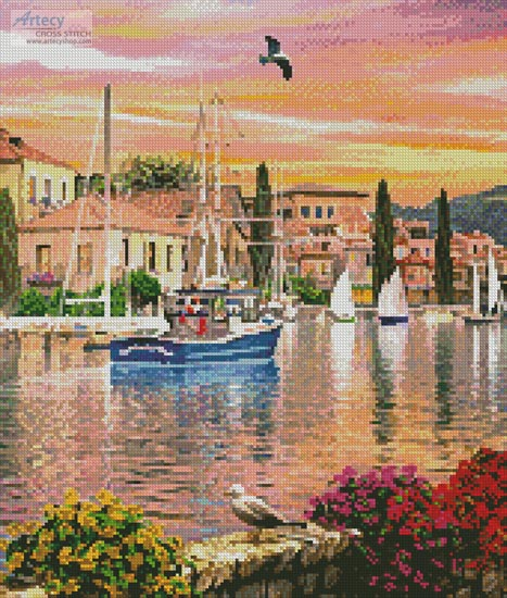 cross stitch pattern Harbour Sunset (Crop 1)
