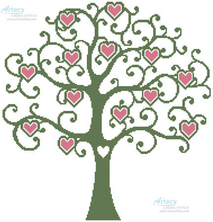 cross stitch pattern Heart Tree