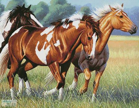 cross stitch pattern Horses Running
