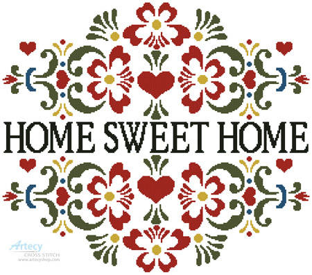 cross stitch pattern Home Sweet Home Floral
