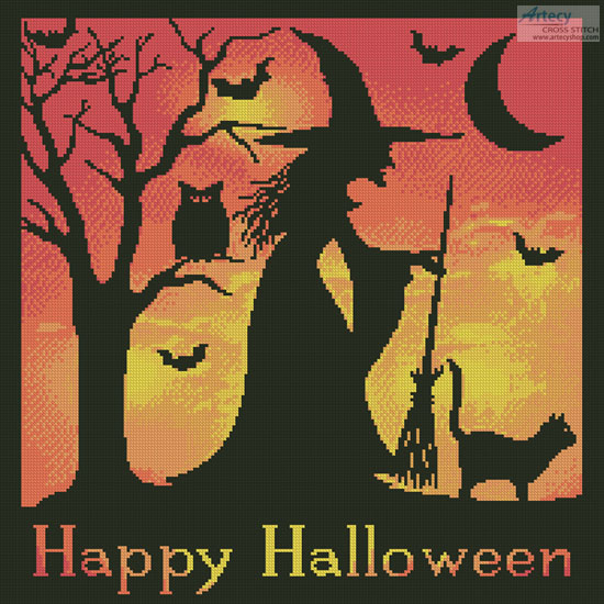 cross stitch pattern Halloween Witch Silhouette