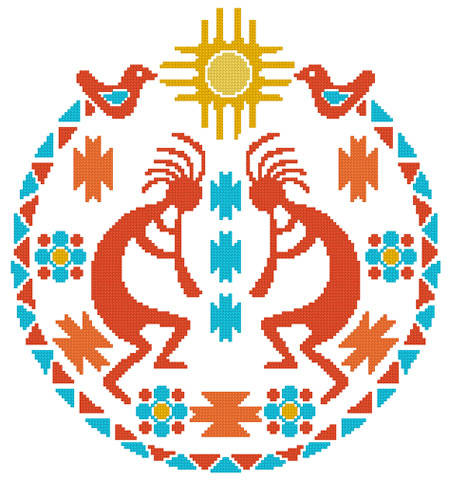 cross stitch pattern Kokopelli Circle