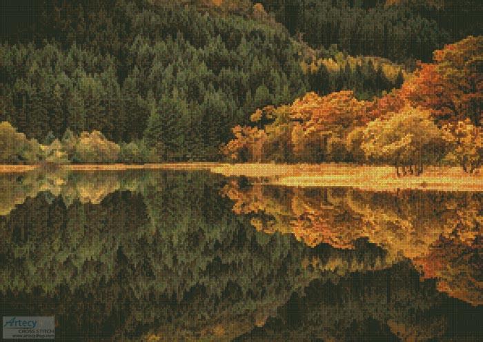 cross stitch pattern Loch Chon in Autumn