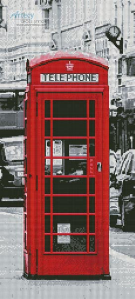 cross stitch pattern London Phone Booth (Crop)