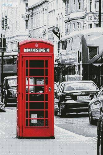 cross stitch pattern London Phone Booth