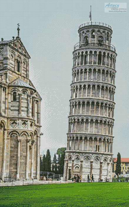 cross stitch pattern Leaning Tower of Pisa