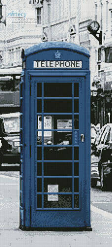cross stitch pattern London Phone Booth Blue (Crop)