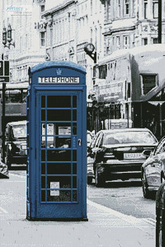 cross stitch pattern London Phone Booth (Blue)