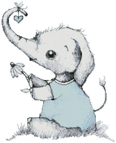 cross stitch pattern Little Boy Daisy Elephant