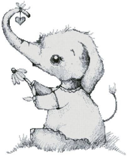 cross stitch pattern Little Daisy Elephant