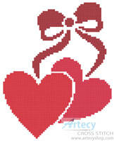 cross stitch pattern Little Hearts and Bow