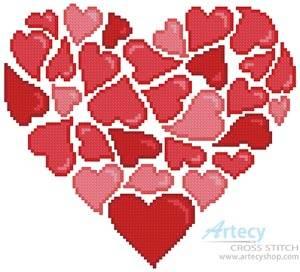 cross stitch pattern Little Red Hearts