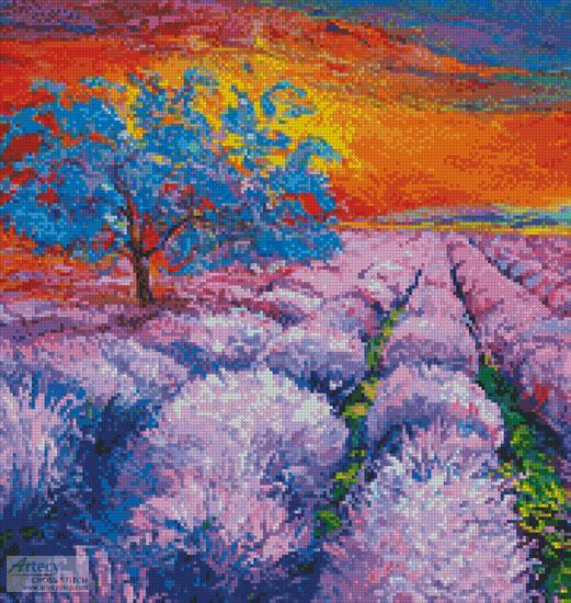 cross stitch pattern Lavender Field at Sunset (Crop)