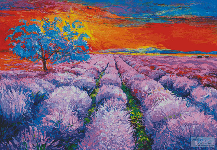 cross stitch pattern Lavender Field at Sunset (Large)