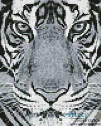 cross stitch pattern Mini Bengal Tiger Black and White