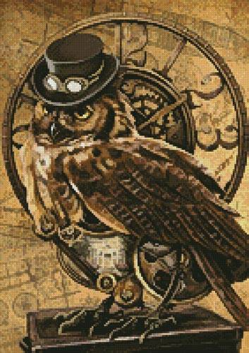cross stitch pattern Medium Steampunk Owl