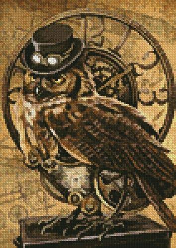 cross stitch pattern Mini Steampunk Owl