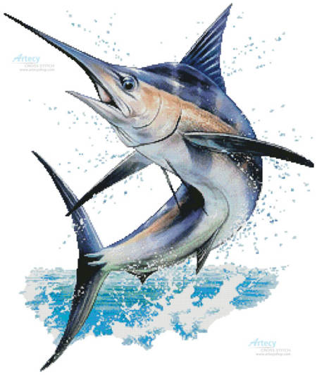 cross stitch pattern Marlin Painting