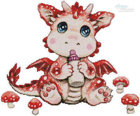 cross stitch pattern Mushroom Dragon Baby