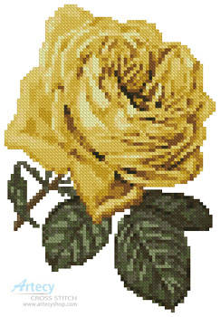 cross stitch pattern Mini Yellow Rose 2