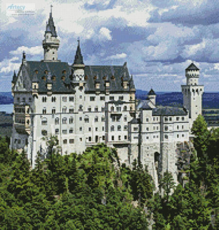 cross stitch pattern Neuschwanstein Castle 2 (Crop)