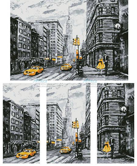 cross stitch pattern New York Abstract