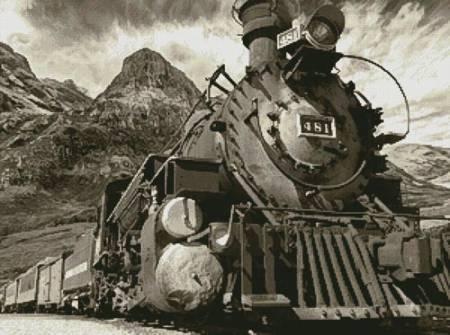 cross stitch pattern Old Train (Sepia)