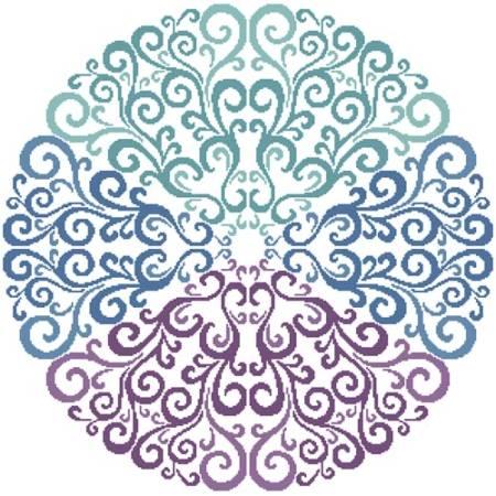 cross stitch pattern Purple Blue Green Circle
