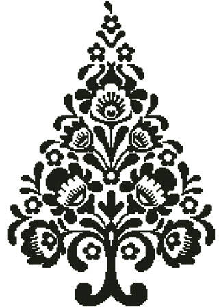 cross stitch pattern Polish Folk Art Christmas Tree