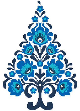 cross stitch pattern Polish Folk Art Christmas Tree Blue