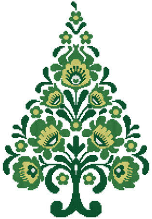 cross stitch pattern Polish Folk Art Christmas Tree Green
