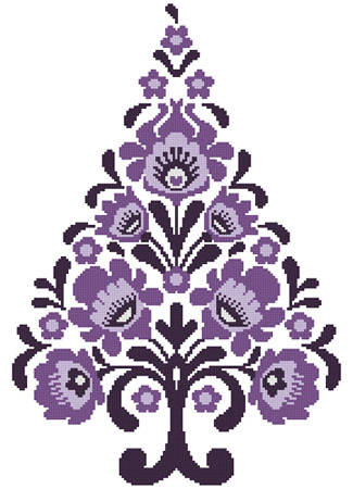 cross stitch pattern Polish Folk Art Christmas Tree Purple