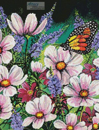 cross stitch pattern Pink Cosmos (Crop)