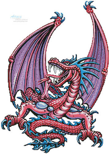 cross stitch pattern Pink Dragon