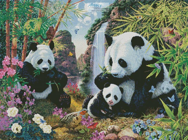 cross stitch pattern Panda Valley