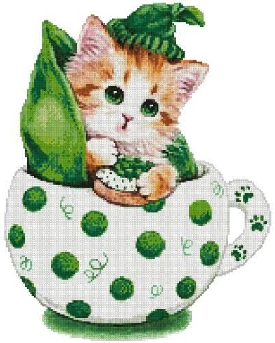 cross stitch pattern Peapod Kitty Cup